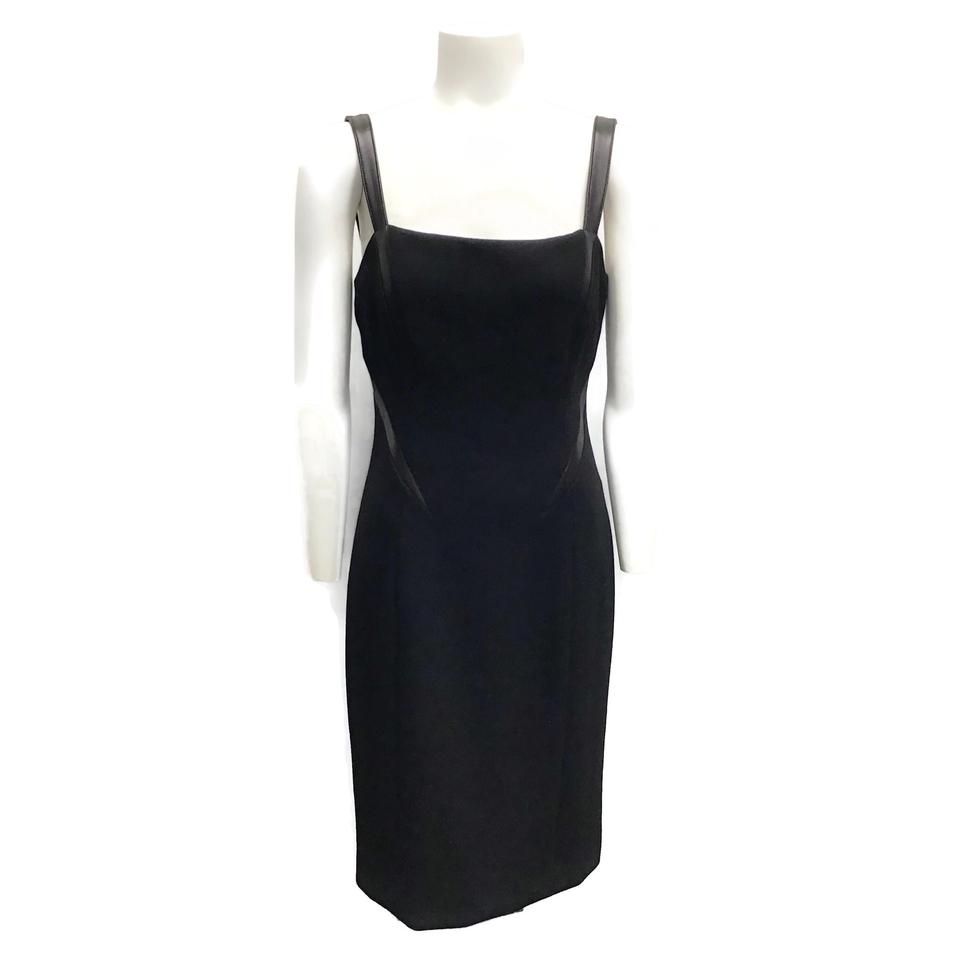 Michael Kors Black Wool/Leather Dress