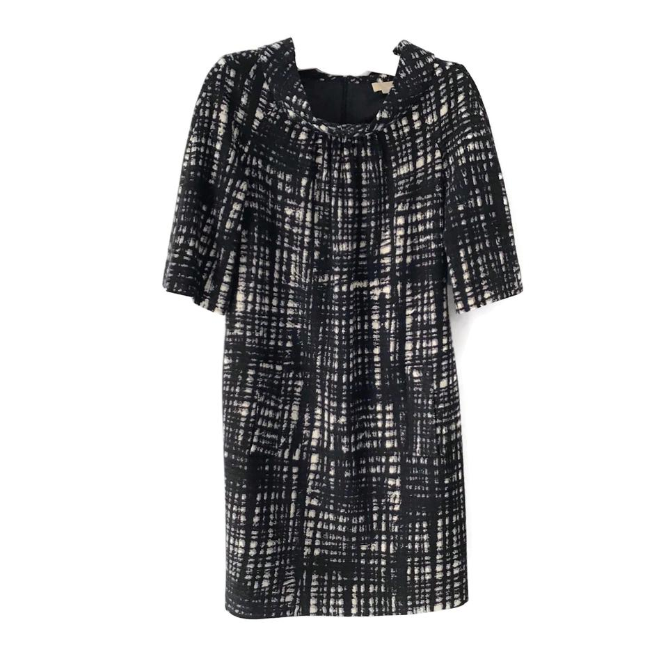 Michael Kors Black/White 3/4 Sleeve Wool Dress