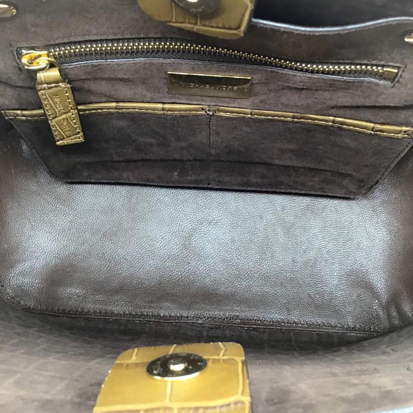 62d3743f56e4 Michael Kors Collection Gia Croc Embossed Brown Leather Tote ...