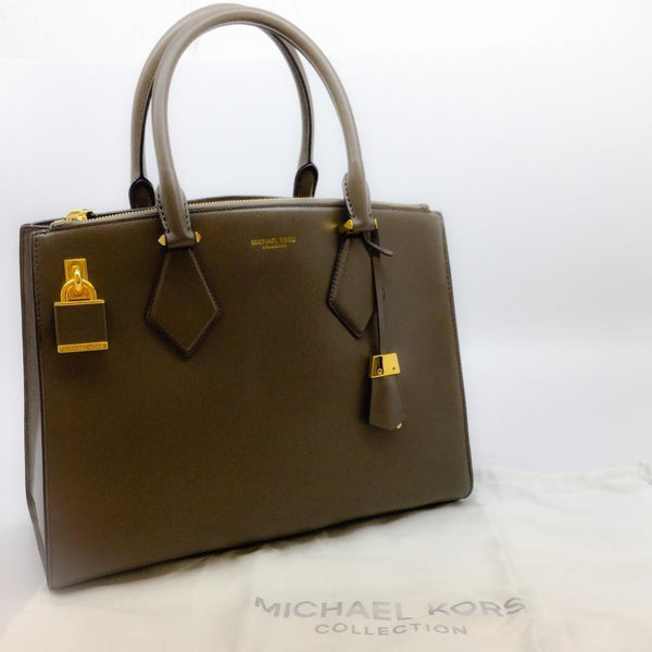 Michael Kors Collection Lock and Key Taupe Leather Tote