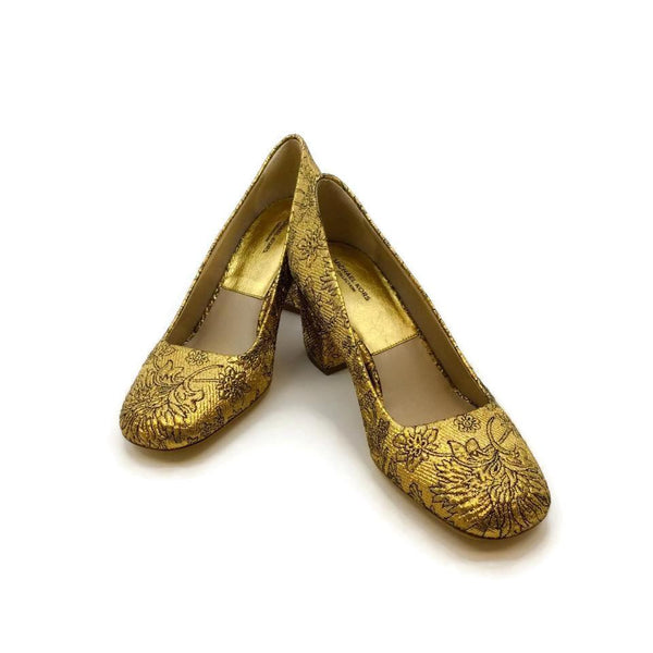 Michael Kors Gold Gigi Runway Brocade Pumps