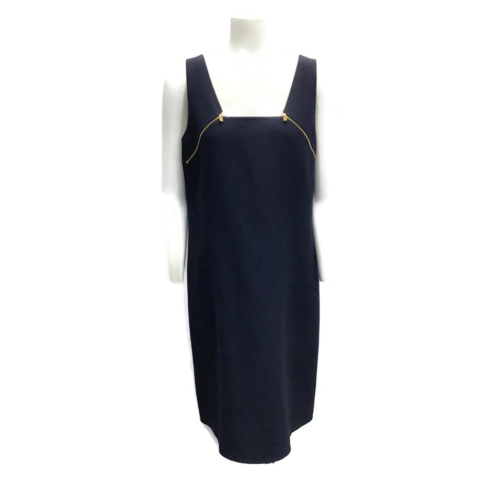 Michael Kors Navy Wool Zipper Dress