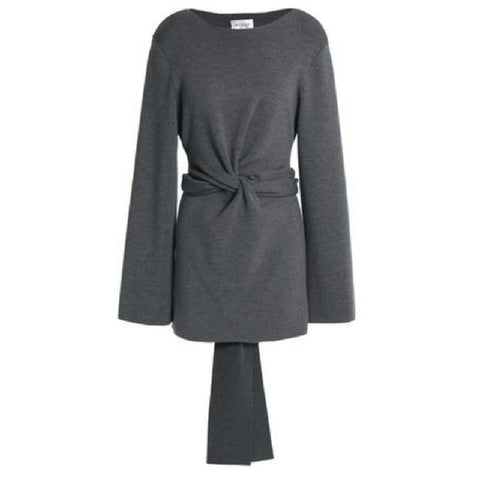 MILLY Twist Tie Tunic Heather Grey Sweater