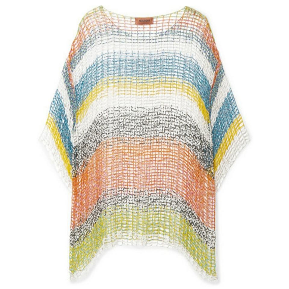 Missoni Multicolored Beaded Crochet Knit Tunic