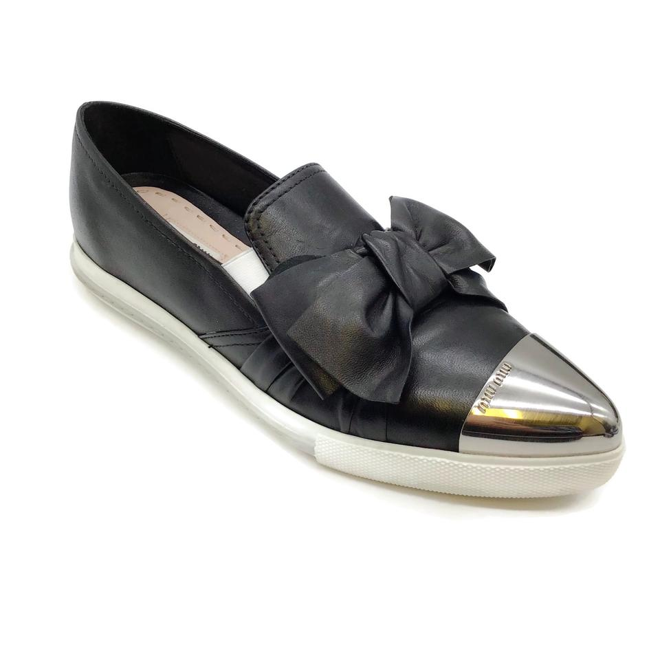 Miu Miu Black Leather Bow Sneakers
