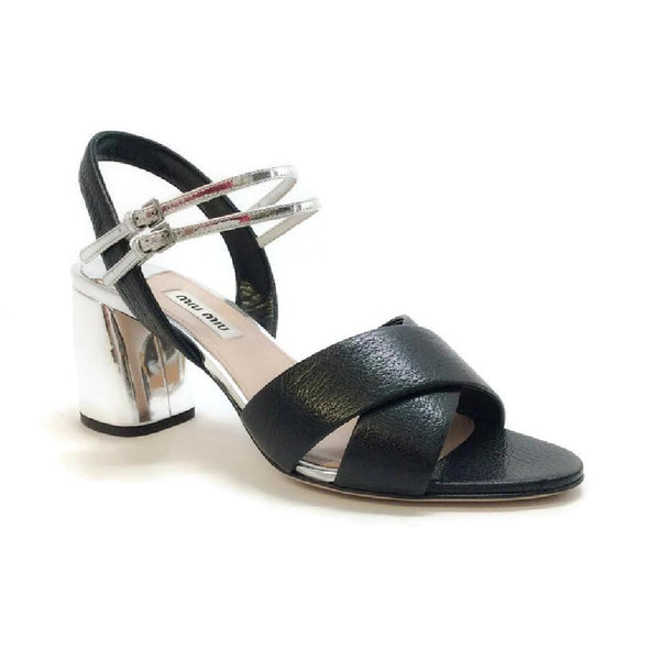 Strappy Black / Silver Sandal by Miu Miu
