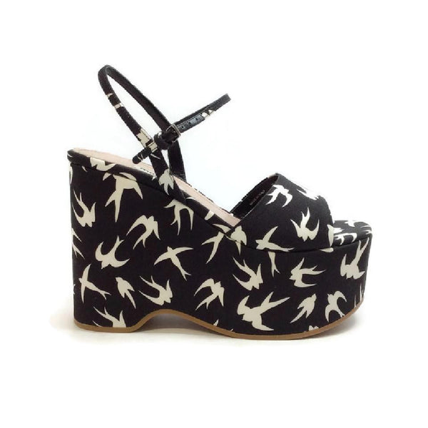 Swallow Wedge Black / White by Miu Miu
