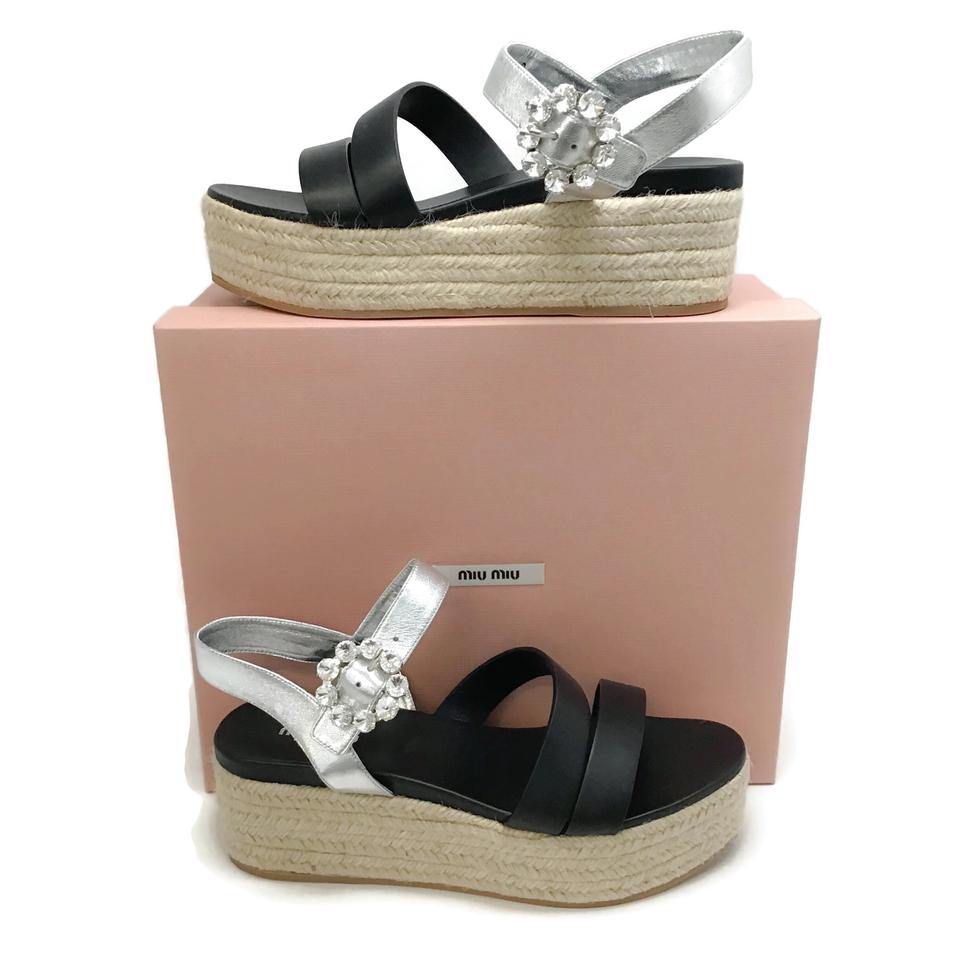 Miu Miu Black/Natural Platform Sandals
