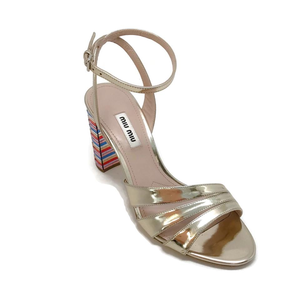 Miu Miu Gold/Multi Rainbow Heel Sandals