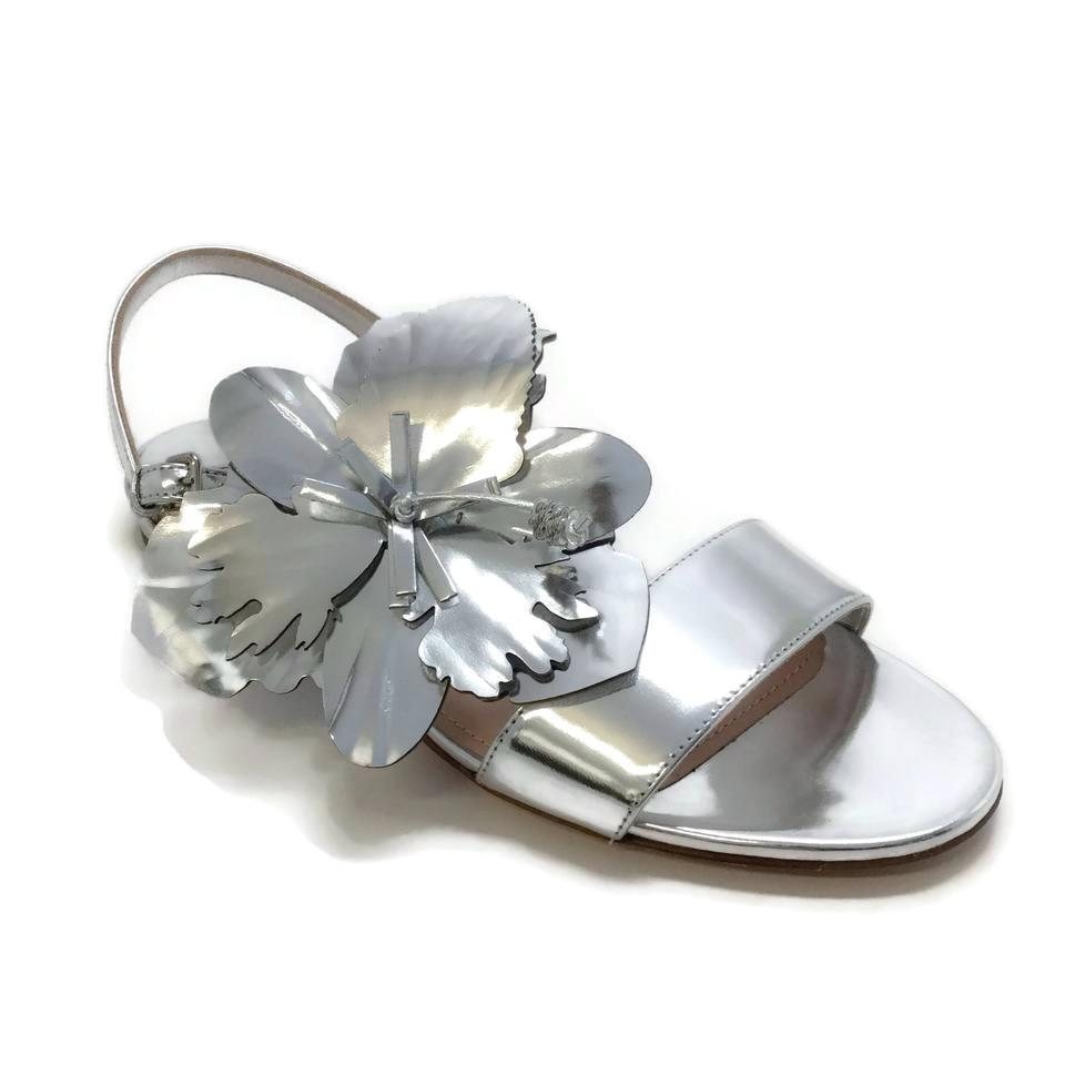 Miu Miu Silver Metallic Flower Sandals