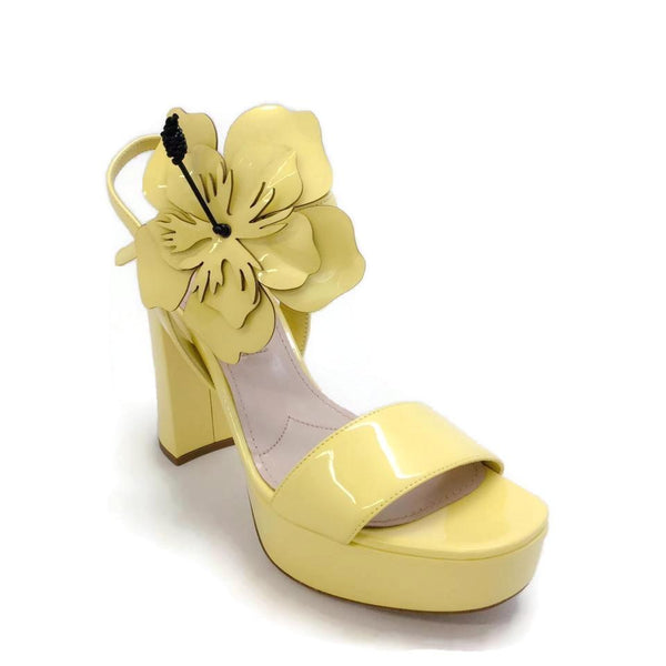 Miu Miu Yellow Patent Platform Sandals