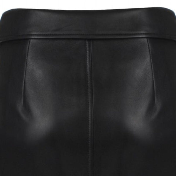 Moschino Black Leather Biker Knee-length Skirt
