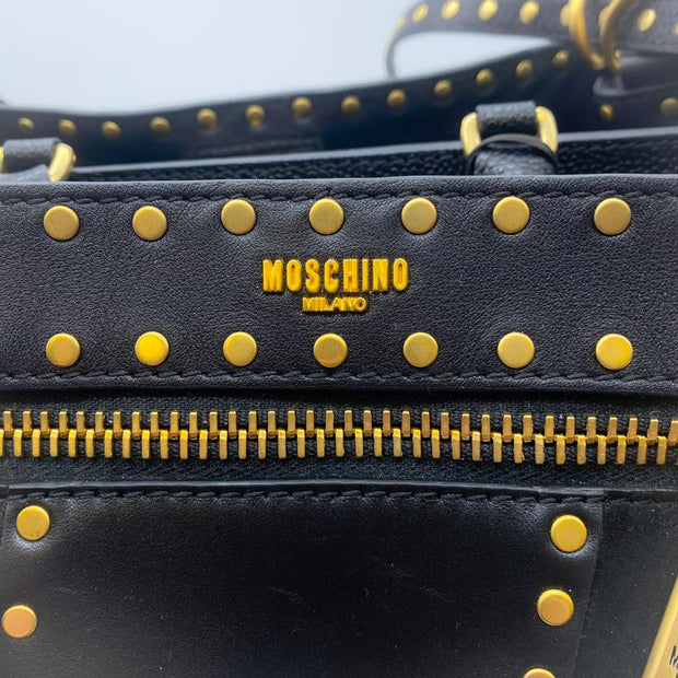Moschino Studded Black/Gold Leather Satchel