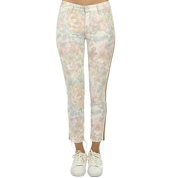 Mother Pastel Floral Looker Ankle Fray Skinny Jeans
