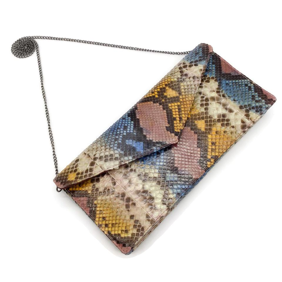 Multi-color Snakeskin Clutch