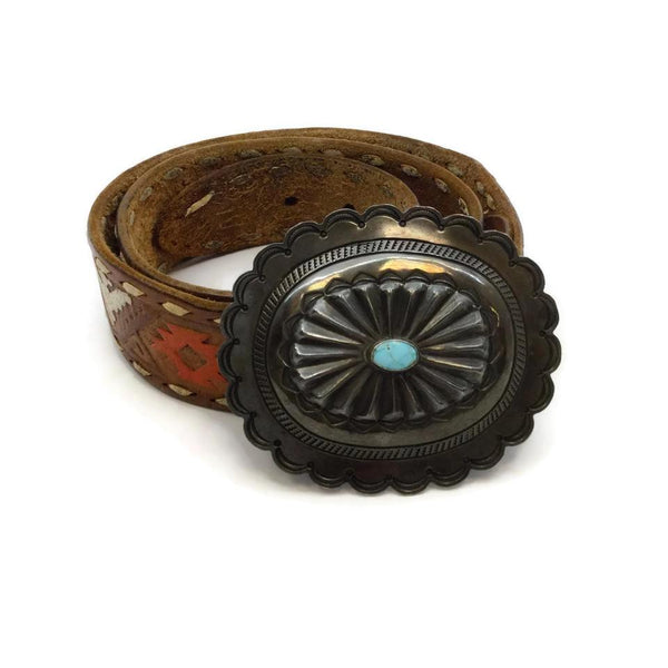Vintage Multicolored Tooled Leather Belt