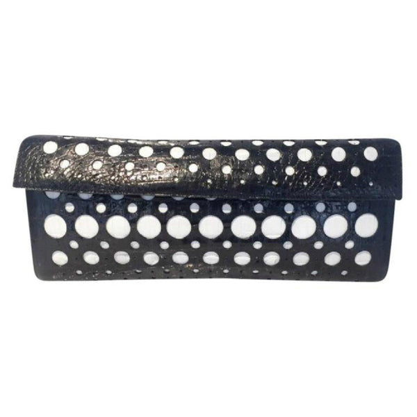 Crocodile Black and White Clutch by Nancy Gonzales