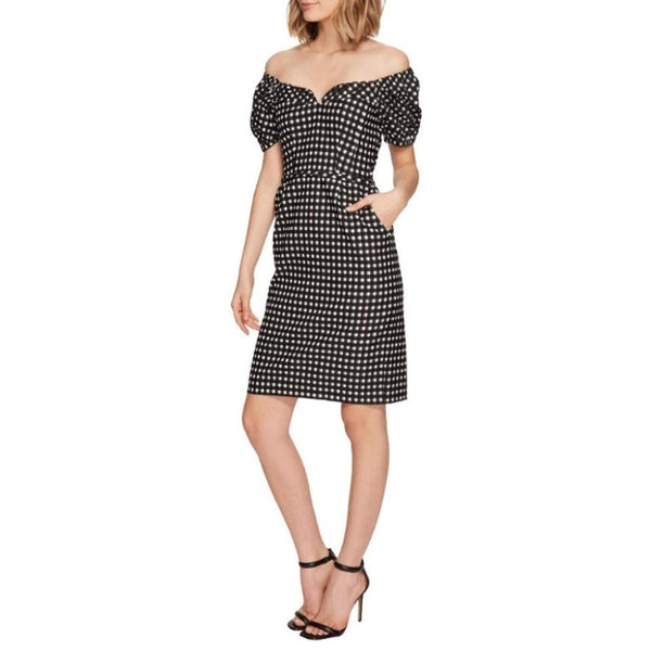 Nanette Lepore Black / White Cheeky Checkered Casual Dress