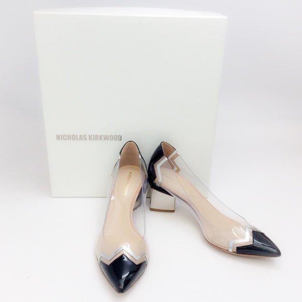 Lucite and Patent Chevron Pump by Nicholas Kirkwood with box