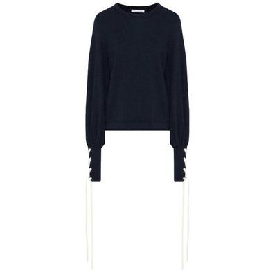 Oscar de la Renta Lace Up Sleeve Navy / Ivory Sweater