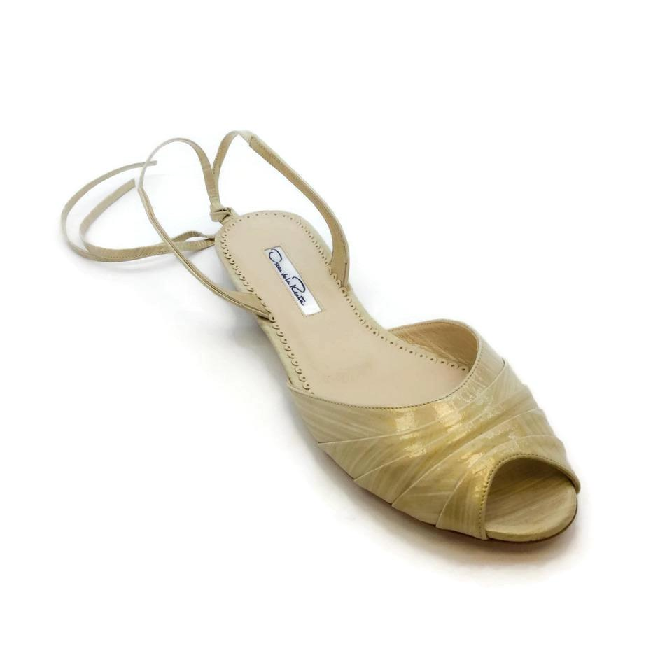 Oscar de la Renta Light Gold Open Toe Flats
