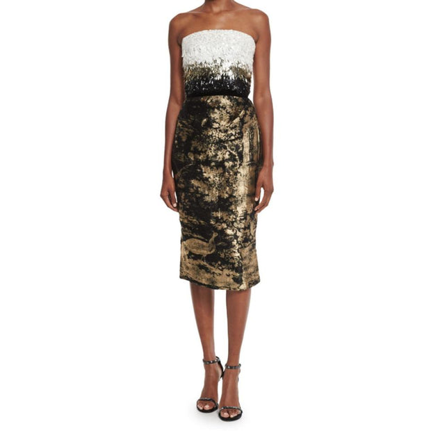 Oscar de la Renta White Gold and Black Strapless Sequined Bodice with Jacquard Skirt Dress