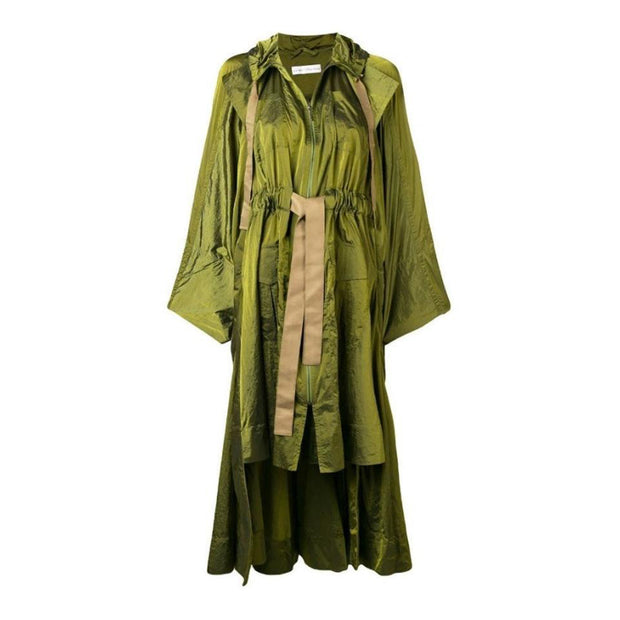 palmer//harding Khaki Brooke Hooded Tiered Ruffle Coat