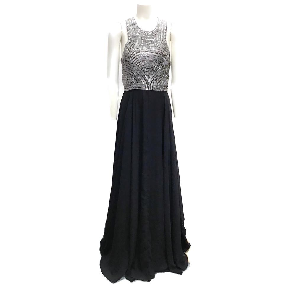 Parker Black/Silver Beaded Gown