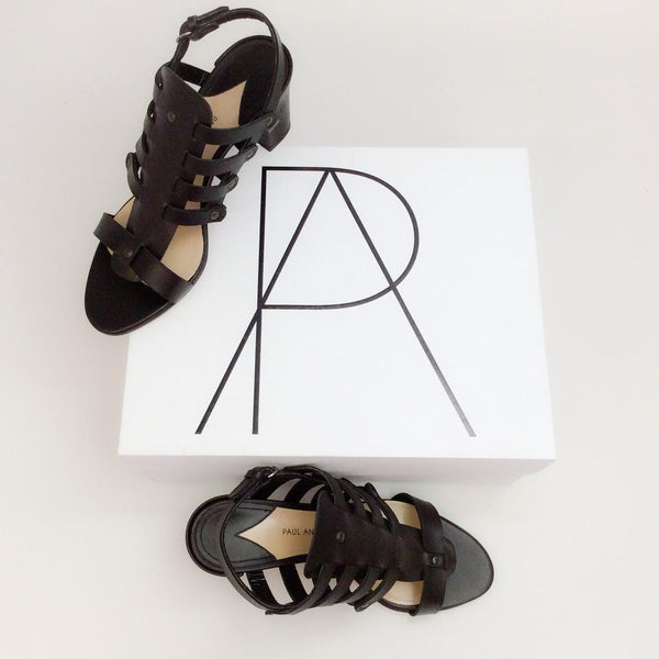 Addison Birdcage Black Sandals by Paul Andrew with box