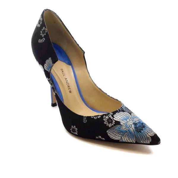 Paul Andrew Blue / Black Silk Floral Pumps