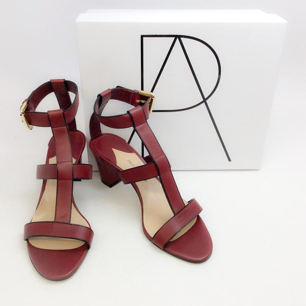 Salma Prune Sandals by Paul Andrew with box