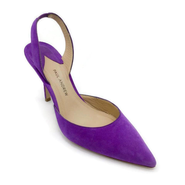 Paul Andrew Purple Suede Slingback Pumps