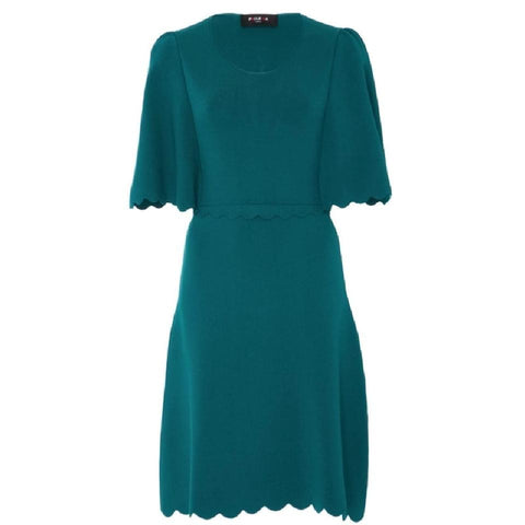 PAULE KA Teal Scallop Trim Dress