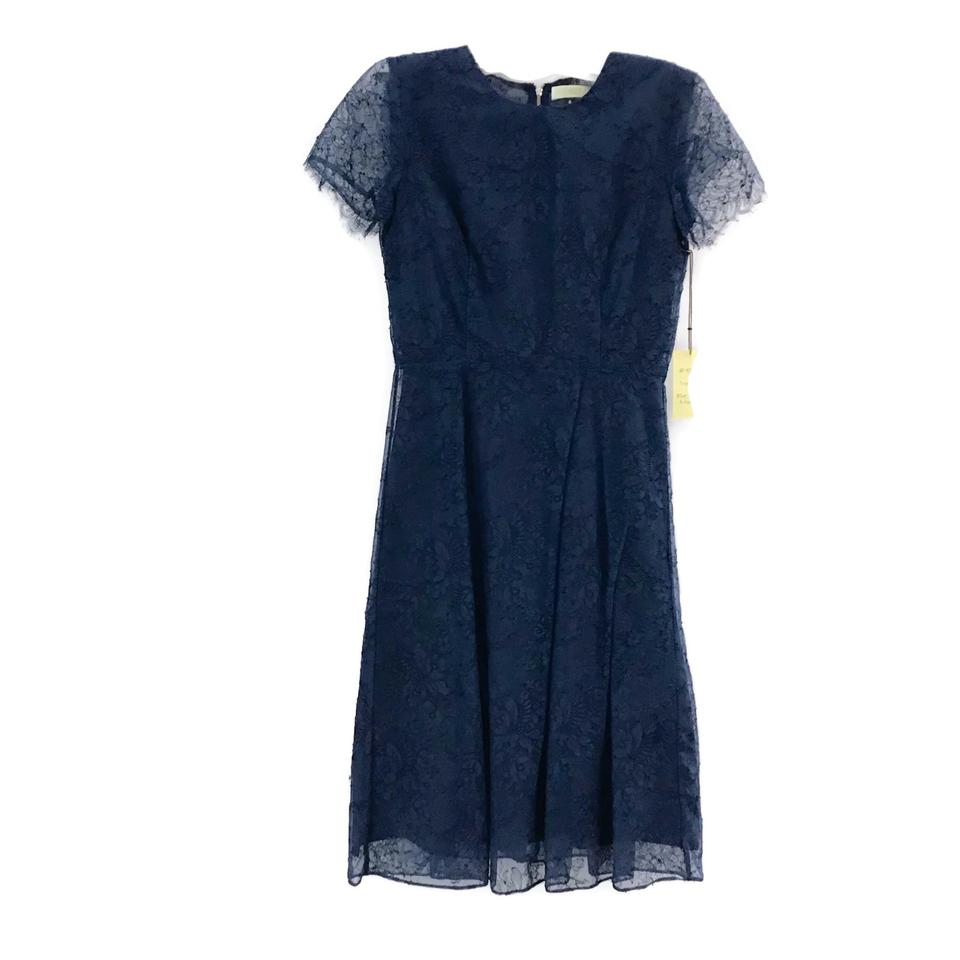 Kalinka Peacock Blue A-line Lace Cocktail Dress