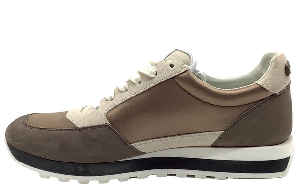 Peserico Taupe / Ivory Satin and Suede Sneakers