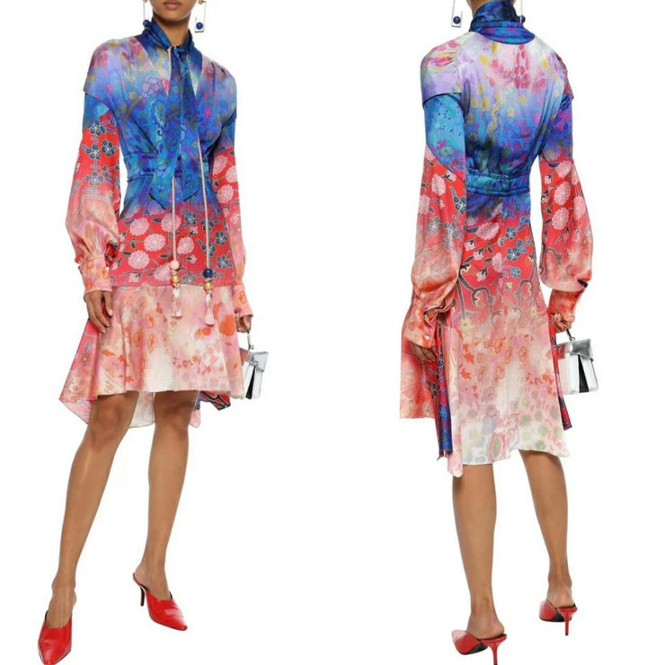 Peter Pilotto Blue/Coral Tie-neck Printed Hammered Dress