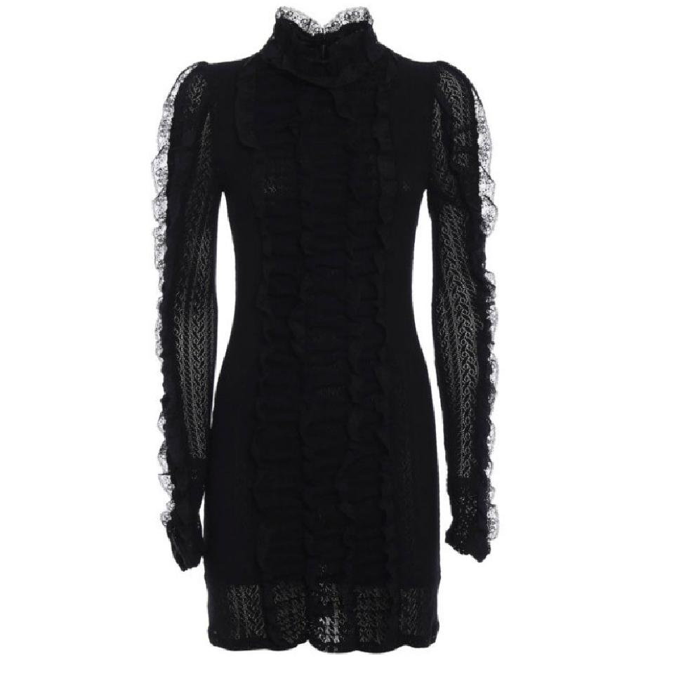 Philosophy di Lorenzo Serafini Black Lace Ruffle Cocktail Dress