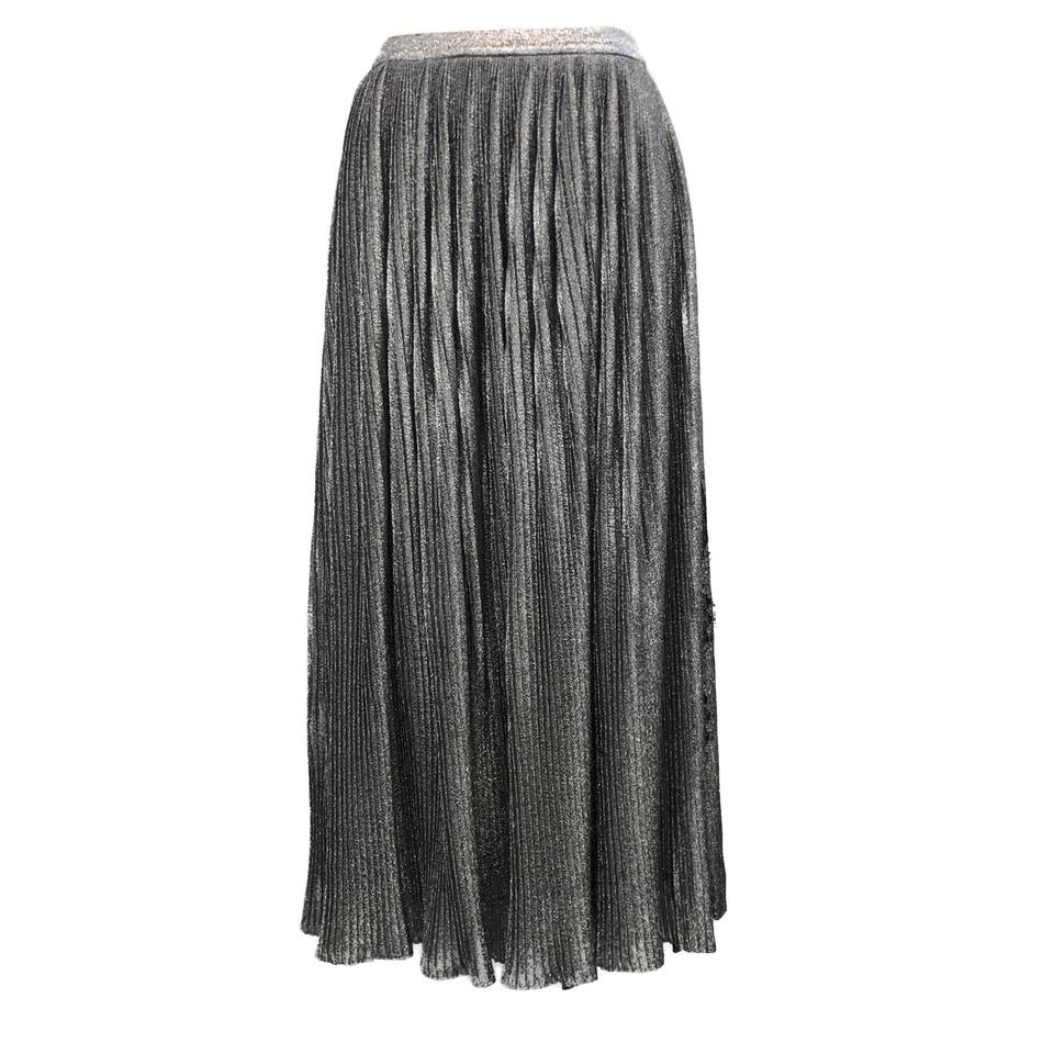 Prabal Gurung Silver Metallic Pleated with Black Lace Insert Skirt