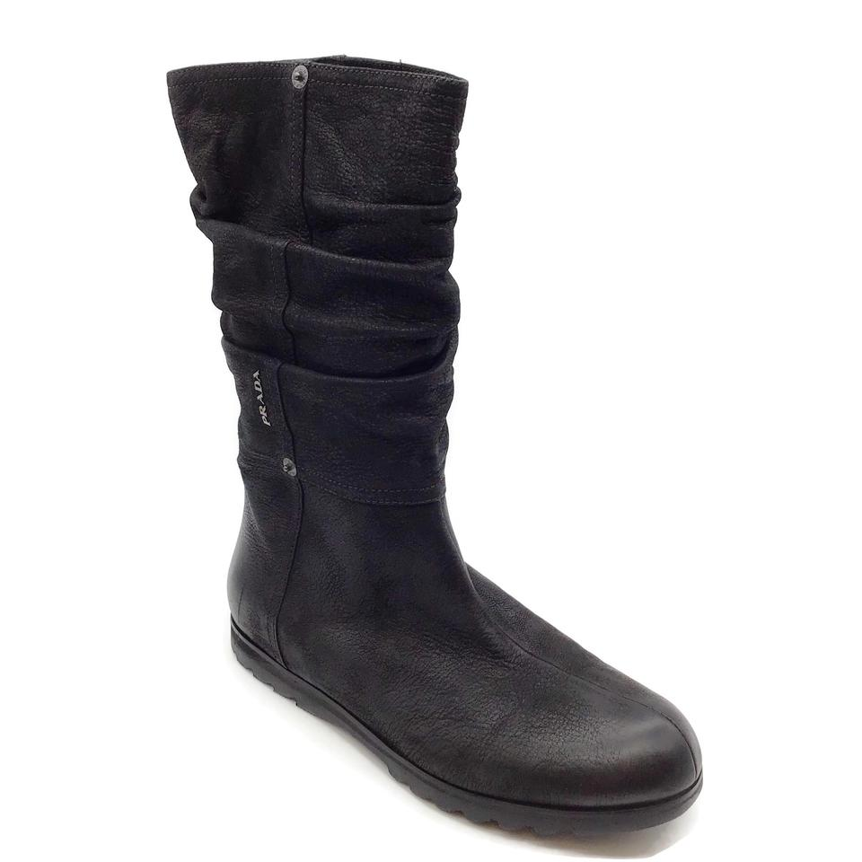 Prada Black Distressed Leather Boots
