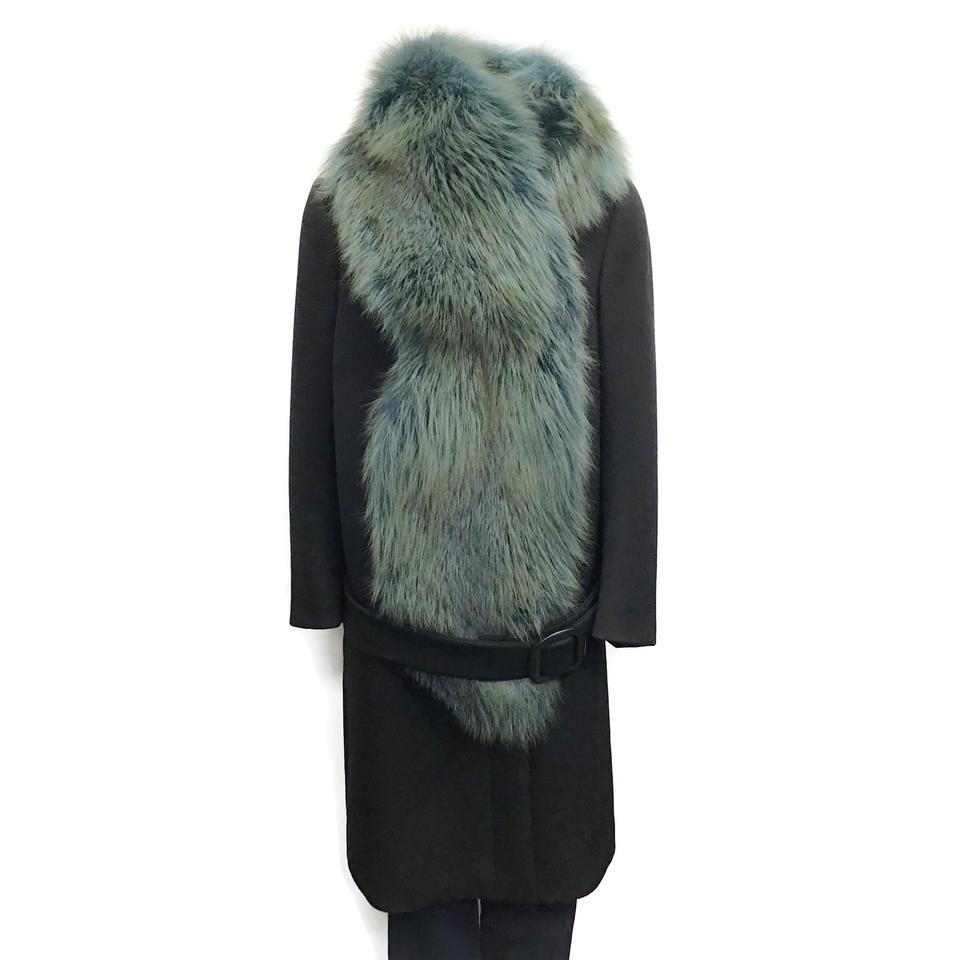 Prada Black Wool/Fox Coat