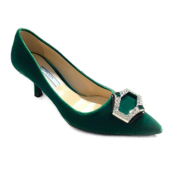 Prada Green Velvet Rhinestone Shoes