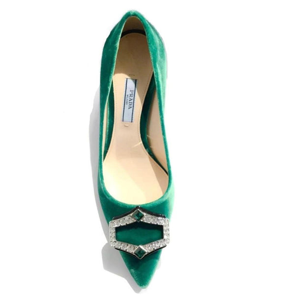 ef190aa5823 Prada Green Velvet Rhinestone Shoes – Roundabout Resale Couture