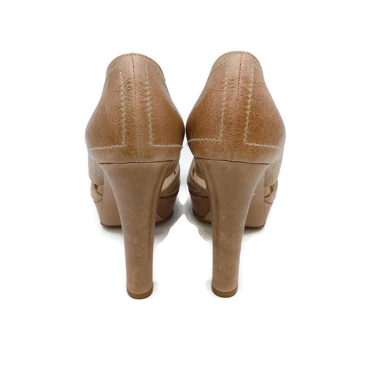 Prada Nude Distressed Platforms