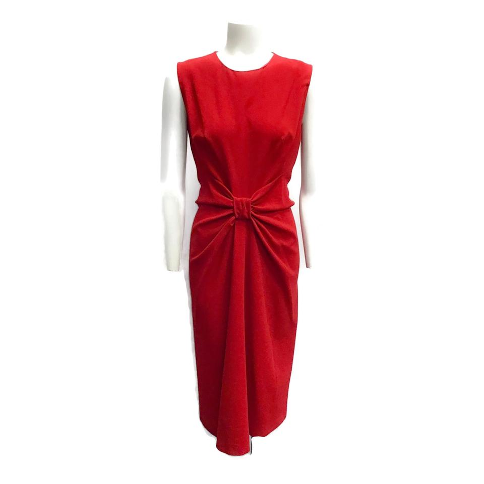 Prada Red Wool Bow Dress