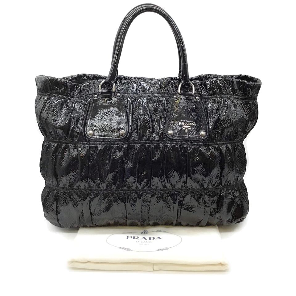 Prada Ruched Black Patent Leather Tote