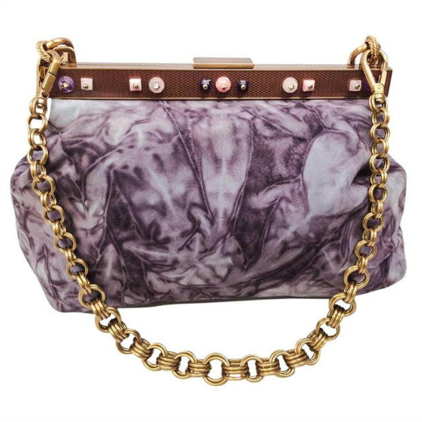 Marbled Suede Lavender Satchel by Prada