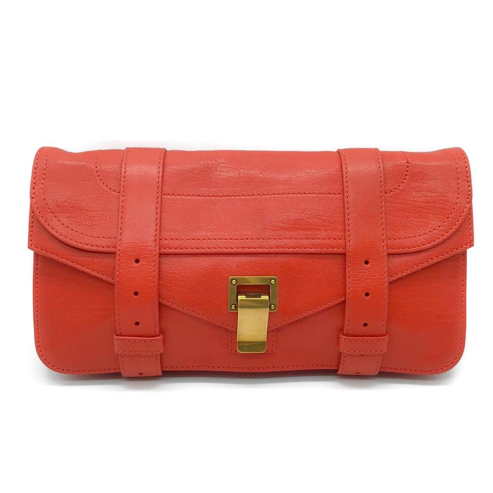 Proenza Schouler Buckle Coral Leather Clutch