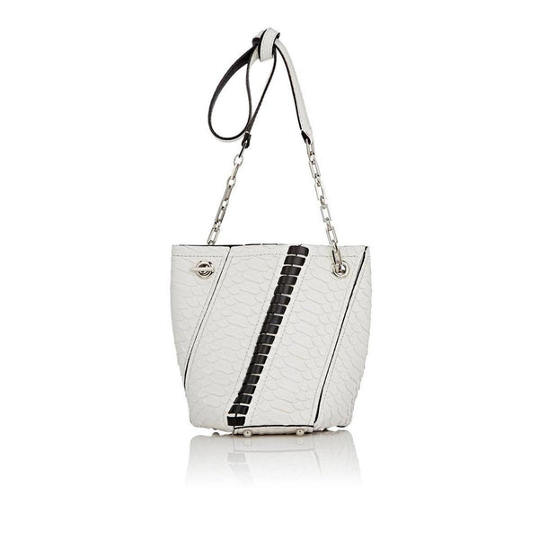 Proenza Schouler Hex Mini Bucket White Python Shoulder Bag