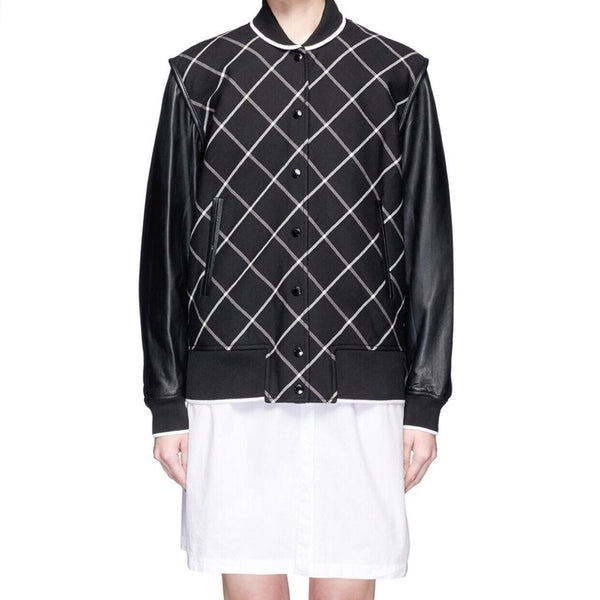 Rag & Bone Black/White Edith Varsity Leather Jacket
