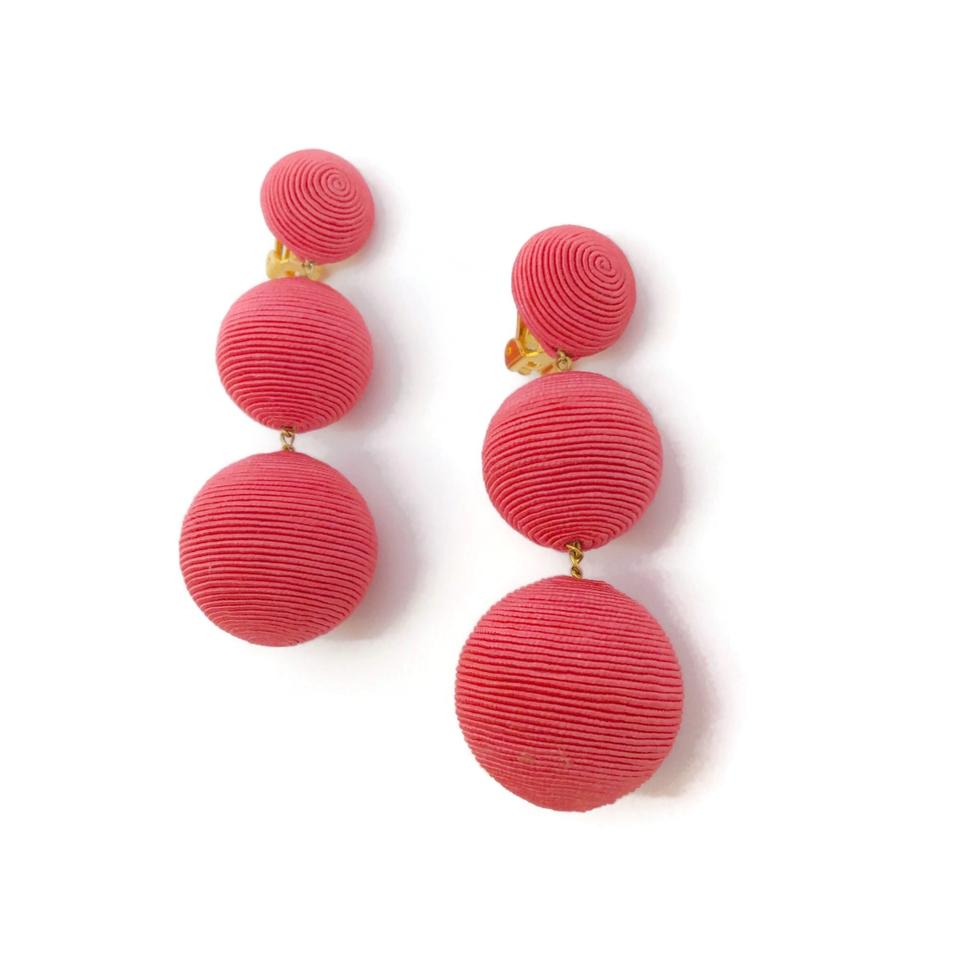 Rebecca de Ravenel Deep Pink Classic Three Drop Bonbon Earrings